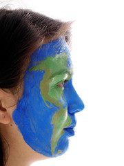 american map painted on girl's face