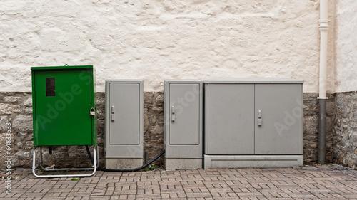 Stromverteilerkasten Und Ein Stromverteiler Fur Baustrom Stockfotos