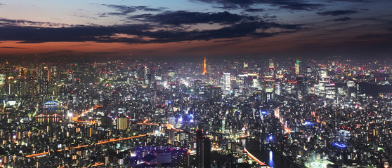 Tokyo skyline panorama at night from Tokyo Tower, Japan