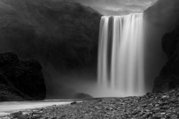Skogafoss waterfall at night