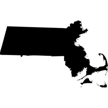 High detailed vector map - Massachusetts.