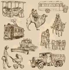 Transport around the World (vector pack no.5) - hand drawn