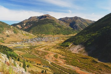 View from road of the town Silverton, Colorado