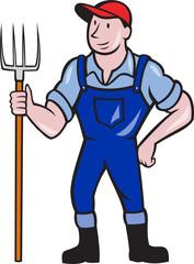 Farmer Holding Pitchfork Standing Cartoon