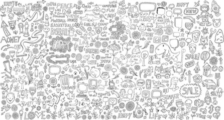 Photo sur cadre textile Cartoon draw Mega Doodle Design Elements Vector Set