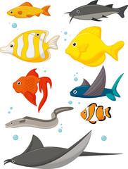 Water Life Cartoon Set