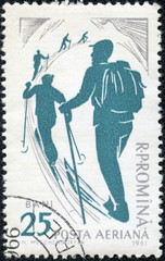 stamp printed by Romania, show skier