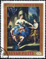 stamp shows Samson and Delilah, by Michele Rocca