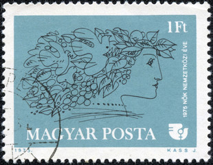 stamp printed by Hungary, shows Woman, IWY Emblem