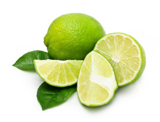 Green lime with leaf