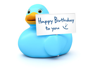 Blue Ducky with happy birthday sign