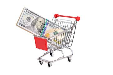 Dollar bill in the shopping trolley