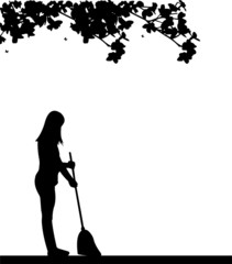Girl pure broom in the park or garden silhouette