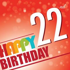 22th Birthday retro party invite/template.Bright/colorful