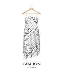Woman fashion dress with fashionable text typography vector