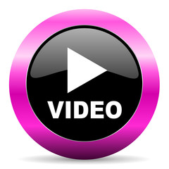 video pink glossy icon