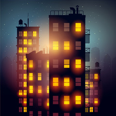 City Apartments At Night