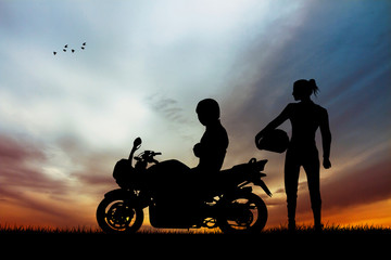 Fototapete - pair of motorcyclists