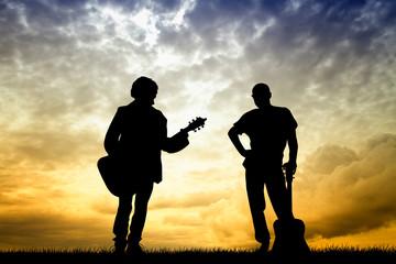 guitarist at sunset