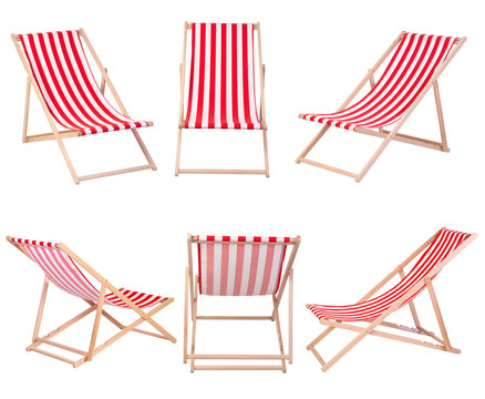 Beach chairs isolated on white background