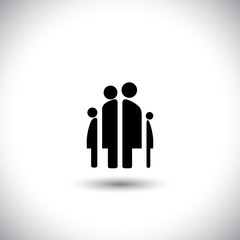 Happy family icon: father, mother, son and baby girl - concept v