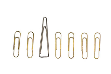 Metal clips on white background