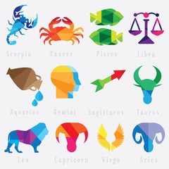 set of zodiac horoscope signs