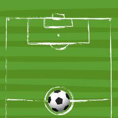 football field grunge drawing - vector illustration