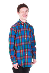 Young handsome smilling man in shirt isolated on white