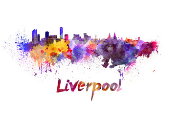 Liverpool skyline in watercolor