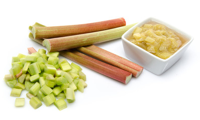 Cup of cooked rhubard with stalks and chopped rhubarb
