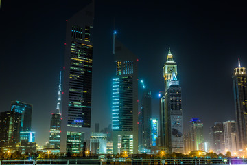 Dubai Dowtown at ngiht, United Arab Emirates