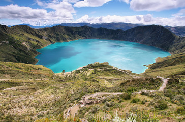 Amazing view of  lake of the Quilotoa caldera