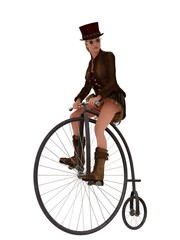 Steampunk girl on penny farthing bicycle