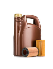 Brown oil can with filters isolated on white