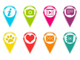 Set of colorful icons for markers on maps with different symbols