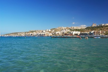 Wall Mural - View from sea of the Mellieha Bay, Malta