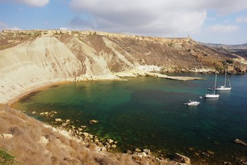 Wall Mural - View of a lonely bay in Malta