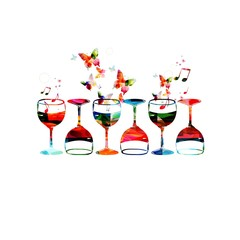 Colorful vector wine glasses background