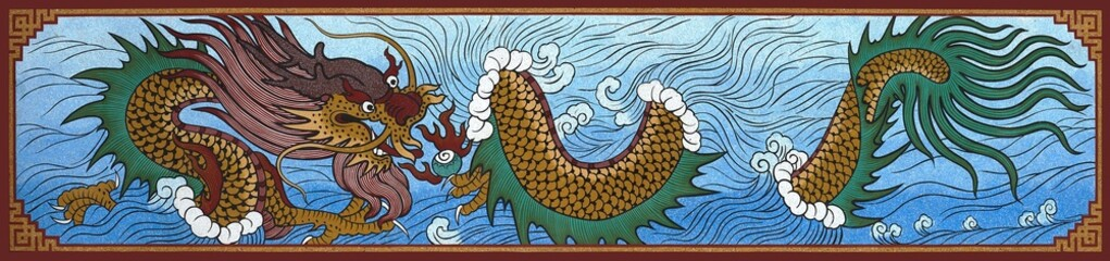 The Colorful of old painting dragon on wall