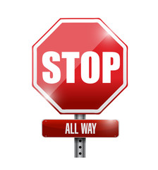stop all way sign illustration design