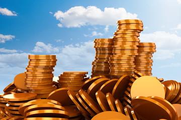 3d render of gold coins money