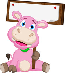 Cute hippo cartoon with blank sign