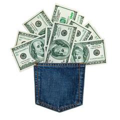 hundred-dollar bills in jeans pocket isolated on white