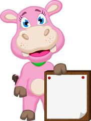 Cute hippo cartoon with blank sign