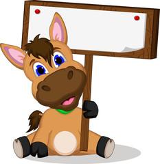 Cute cartoon horse with blank sign
