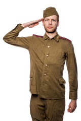 Russian soldier saluting. Studio portrait isolated