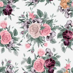 Seamless floral pattern with of roses on white background