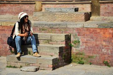 Traveler Thai Women in Basantapur Durbar Square at Kathmandu