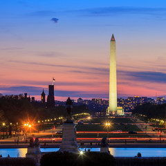 Wall Mural - Washington DC city view at sunset, including Washington Monument